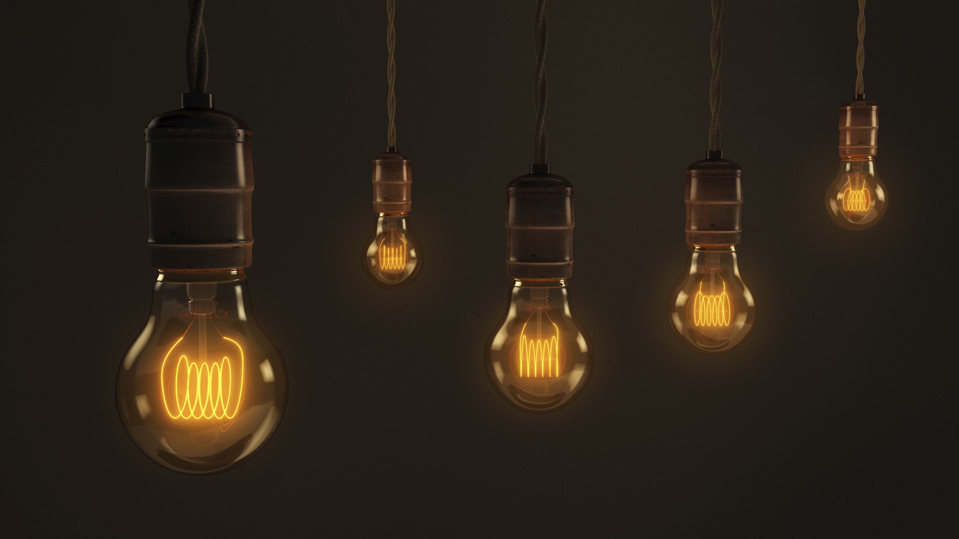 A quintet of vintage hanging light bulbs over a dark brown